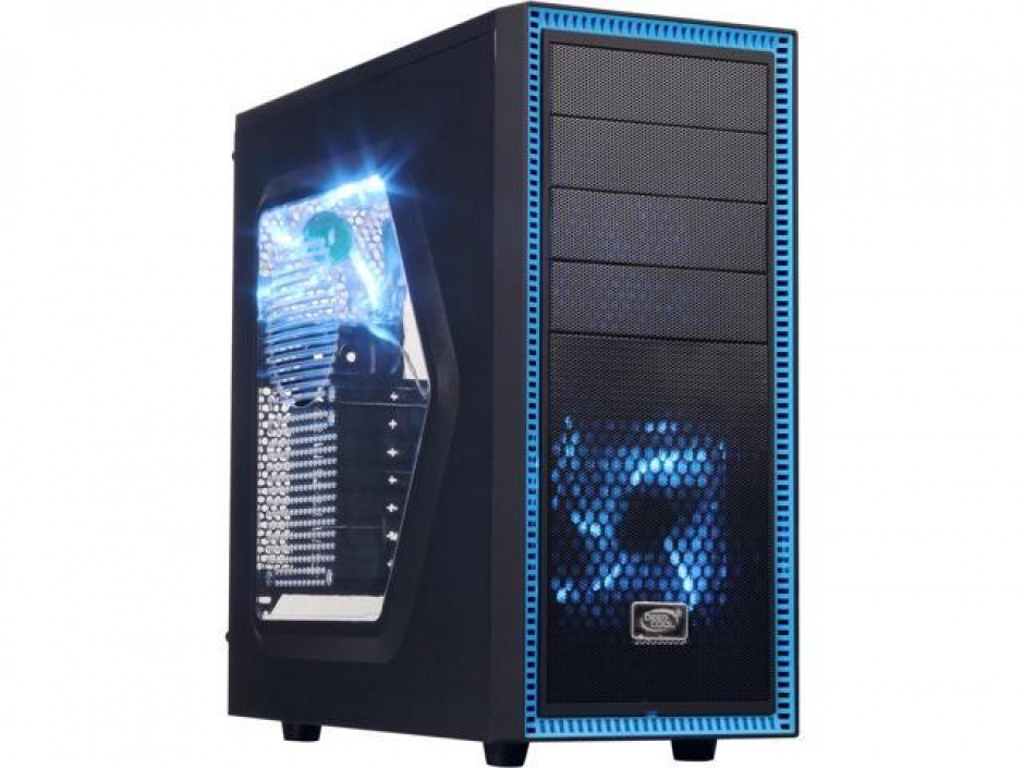 Imagine CARCASA DEEPCOOL ATX Mid-Tower, 2* 120mm BLUE LED fan, TESSERACT SW