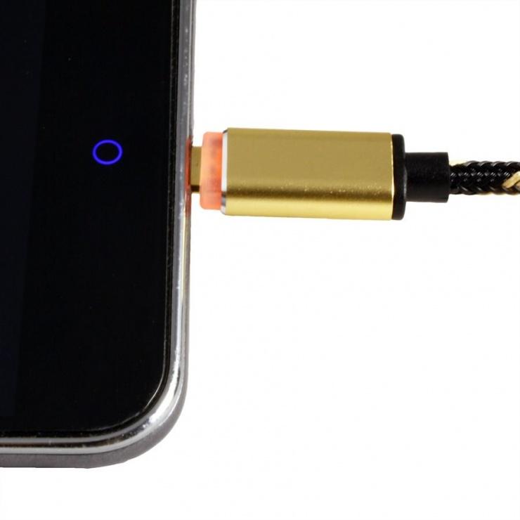 Imagine Cablu USB la micro USB-B reversibil cu LED GOLD Quick/Fast Charge 2.0 (incarcare rapida) T-T 1m, Rol