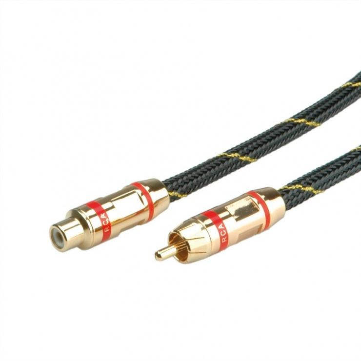 Imagine Cablu GOLD prelungitor audio RCA rosu T-M 5m, Roline 11.09.4254