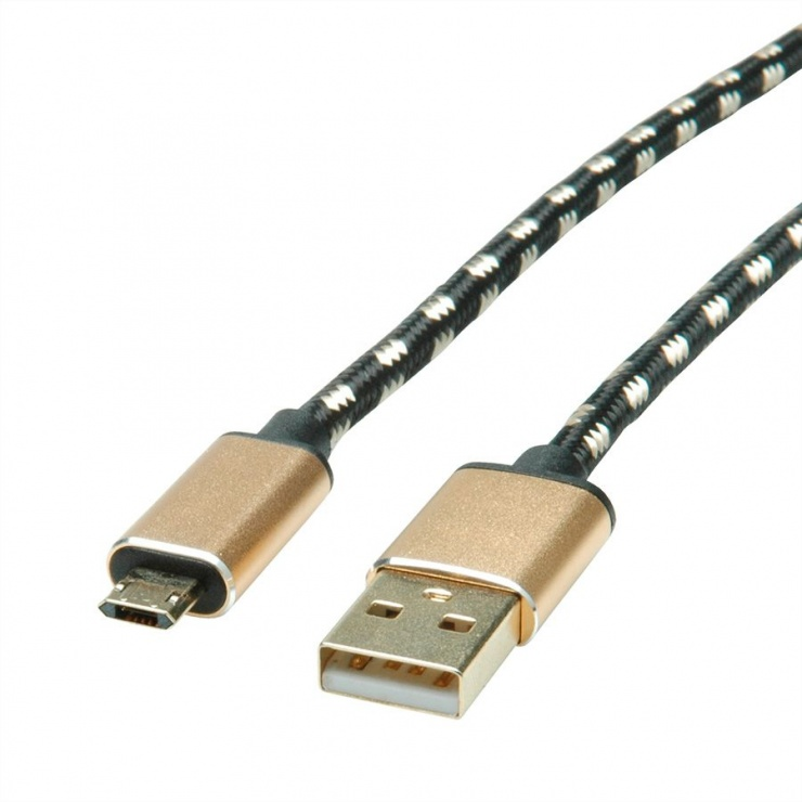 Imagine Cablu USB la micro USB-B 2.0 reversibil GOLD T-T 1.8m, Roline 11.02.8828