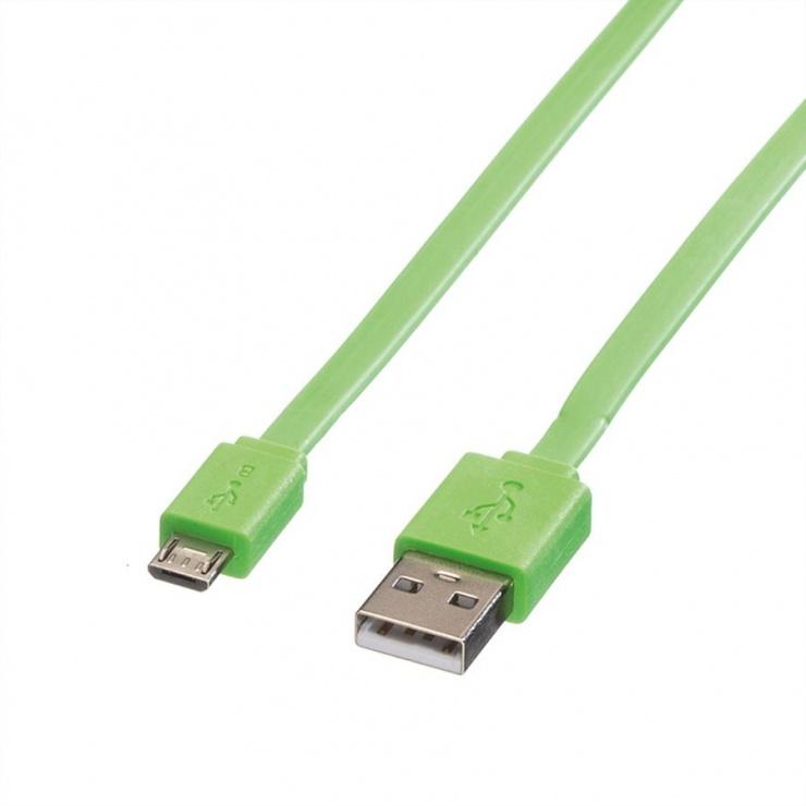 Imagine Cablu micro USB la USB 2.0 T-T 1m Flat Verde, Roline 11.02.8763