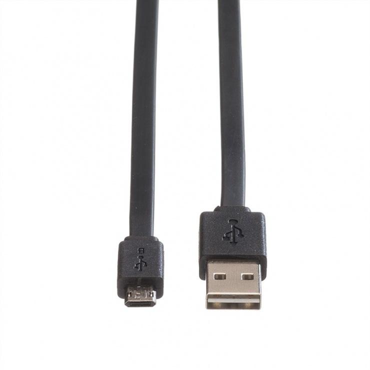 Imagine Cablu USB 2.0 la micro USB-B reversibil T-T 1m Negru, Roline 11.02.8765