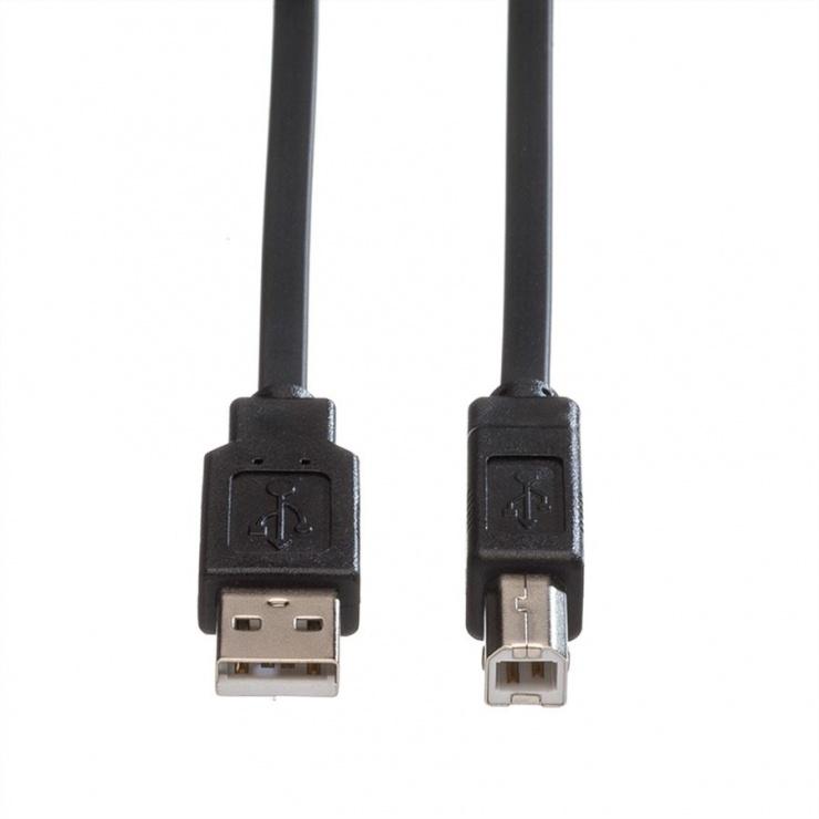 Imagine Cablu de imprimanta USB A la B 1.8m Negru Flat, Roline 11.02.8868-1