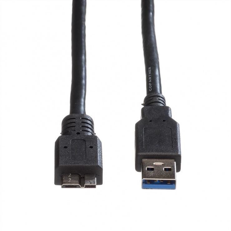 Imagine Cablu USB 3.0-A la micro USB-B T-T 3m Negru, Roline 11.02.8877