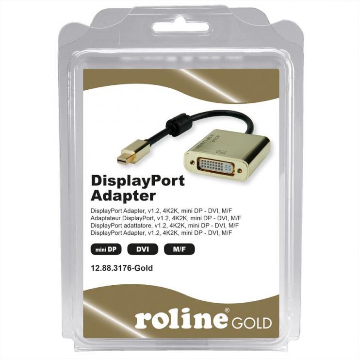 Imagine Adaptor Mini DisplayPort la DVI GOLD 4K2K T-M, Roline 12.03.3176-2