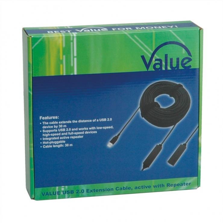Imagine Cablu prelungitor USB 2.0 activ T-M 30m, Value 12.99.1111-7