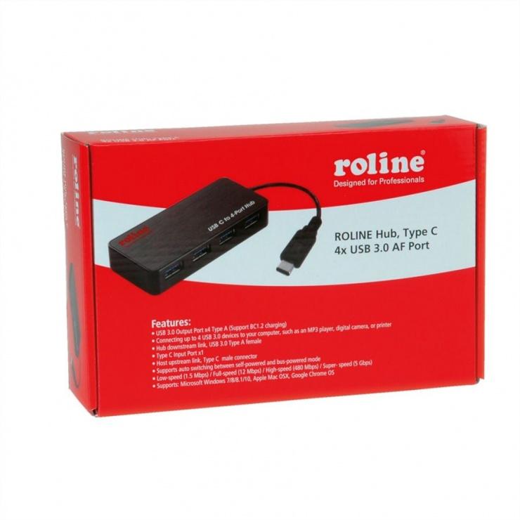 Imagine HUB USB 3.0 tip C cu 4 porturi + alimentare, Roline 14.02.5035