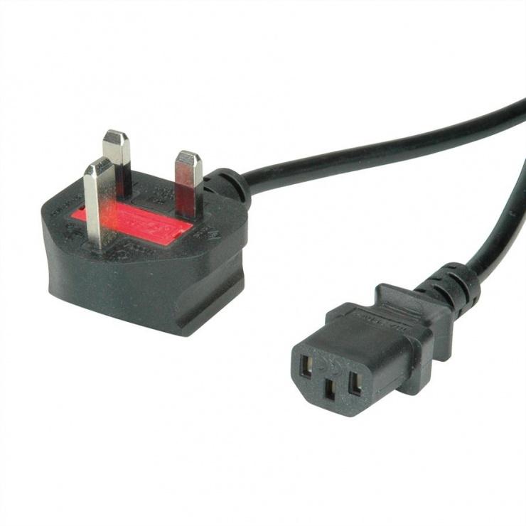 Imagine Cablu de alimentare UK la C13 10A 1.8m Negru, Value 19.99.2018