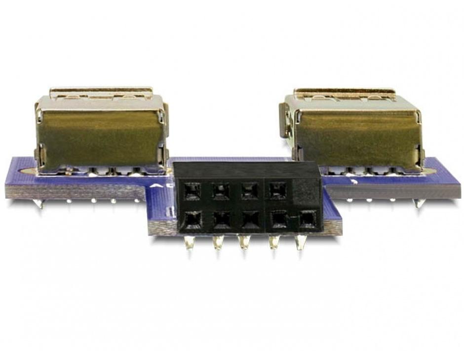 Imagine Adaptor pin header la 2 x USB 2.0 orientare sus, Delock 41824-1