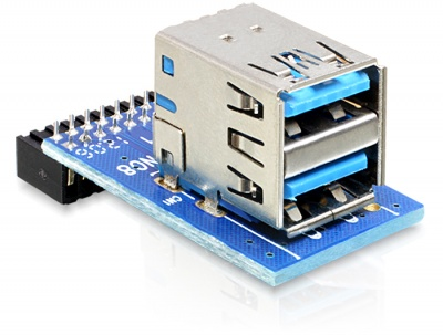 Imagine USB 3.0 Pin Header la 2 x USB 3.0 M-M, Delock 41865