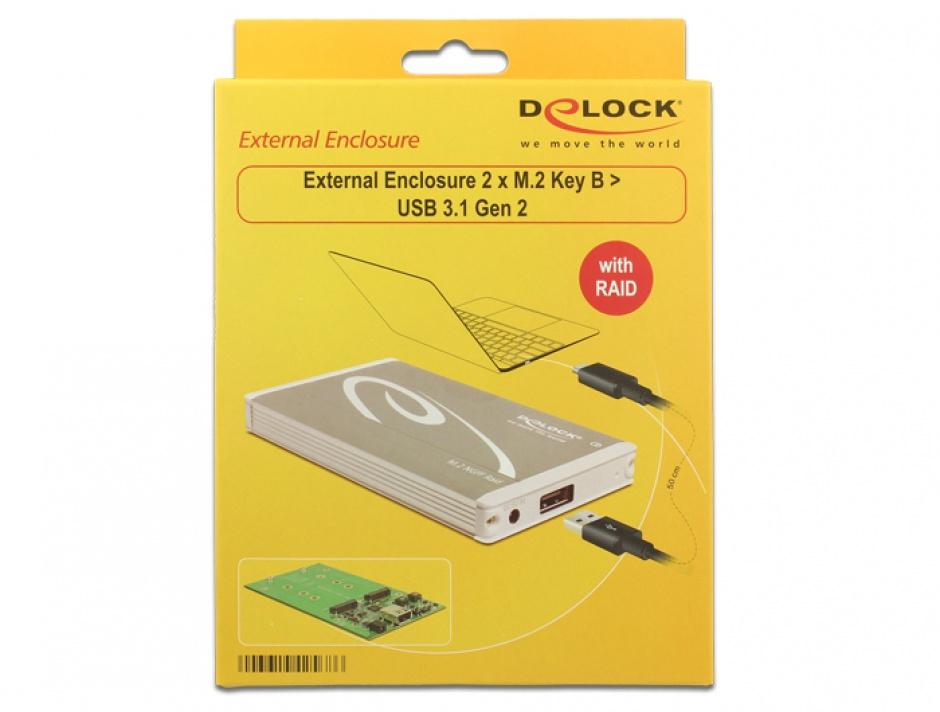Imagine Rack extern USB 3.1 Gen 2 la M.2 Key B cu Raid, Delock 42568