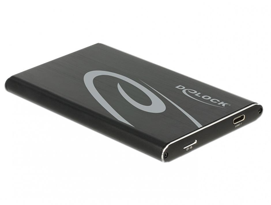 """Imagine Rack extern 2.5"""" pentru HDD/SSD 7mm SATA la USB 3.1 tip C, Delock 42585"""