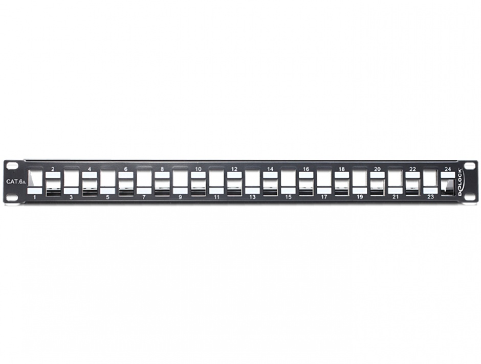 """Imagine Patch Panel 19"""" pentru keystone 24 porturi incrucisate negru, Delock 43278"""