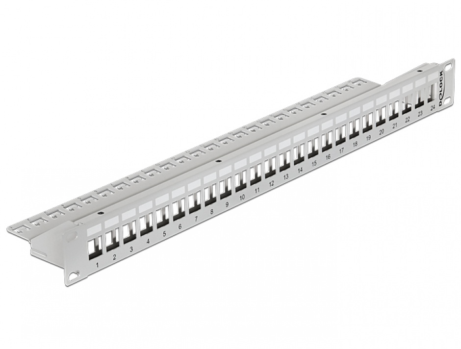 "Imagine Patch Panel 19"" pentru keystone 24 porturi gri, Delock 43302"