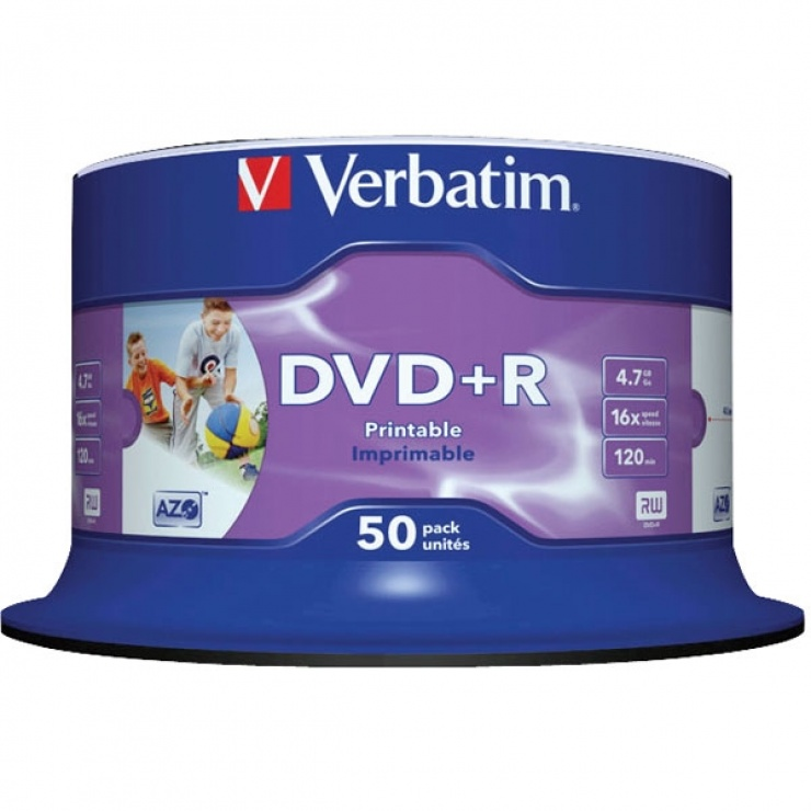 Imagine DVD+R Verbatin Inkjet Printable SL 16X 4.7GB 50 buc