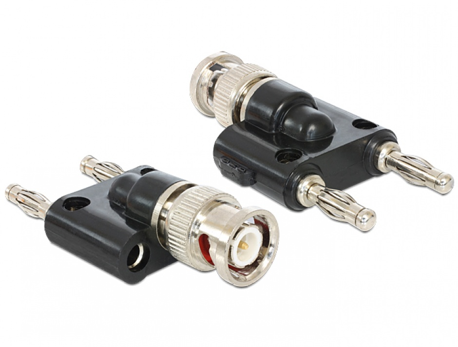 Imagine Adaptor BNC la 2 x 4 mm Banana T-T (spring connector), Delock 88572
