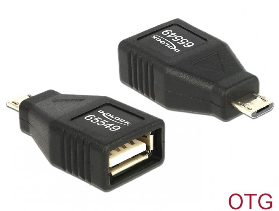 Imagine Adaptor OTG USB 2.0 A la micro USB B M-T, Delock 65549