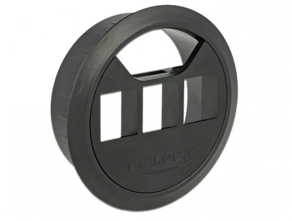 Imagine Carcasa pentru montare in masa 3 porturi Keystone 60 mm Negru, Delock 86277