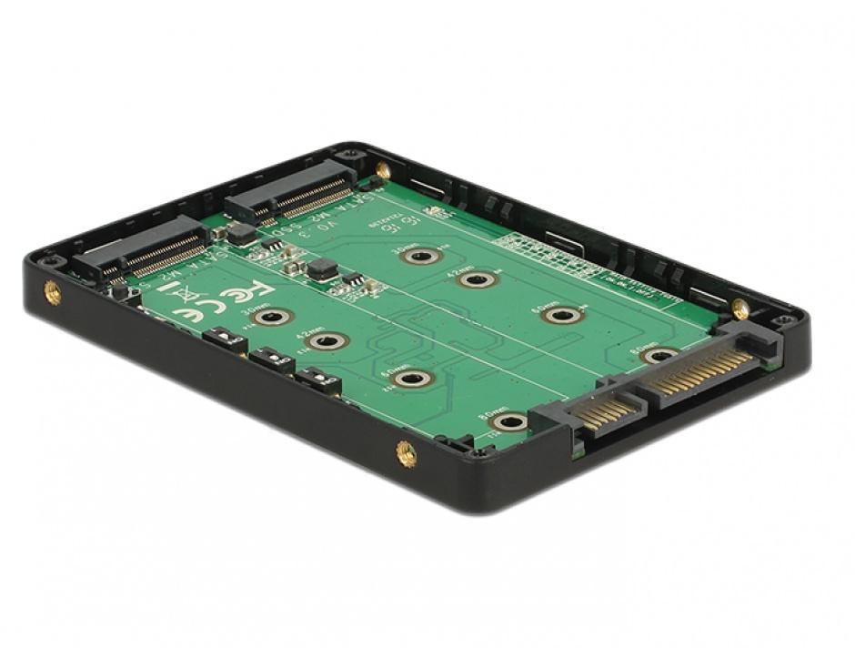 "Imagine Adaptor 2.5"" SATA 22 pini la 2 x M.2 RAID + rack extern, Delock 62791-3"
