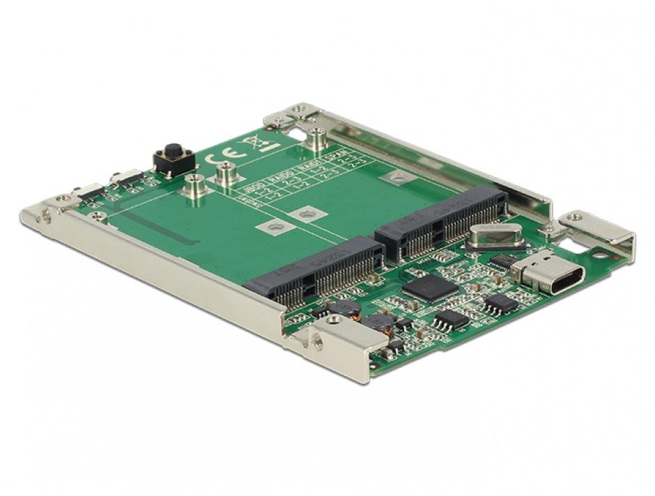 """Imagine Convertor 2.5"""" USB 3.1 Gen 2 USB-C la 2 x mSATA cu RAID 7mm, Delock 62852-1"""