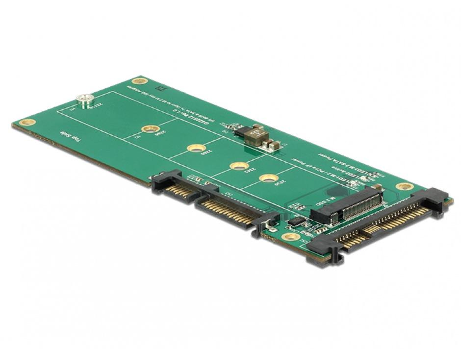 Imagine Convertor U.2 SFF-8639 NVMe / SATA 22 pini la 1 x M.2 Key M, Delock 62864-1