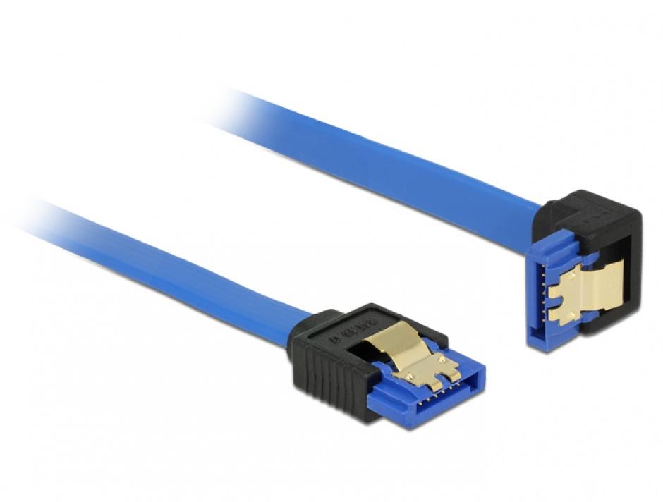 Imagine Cablu SATA III 6 Gb/s unghi drept-jos Bleu 100cm, Delock 85093