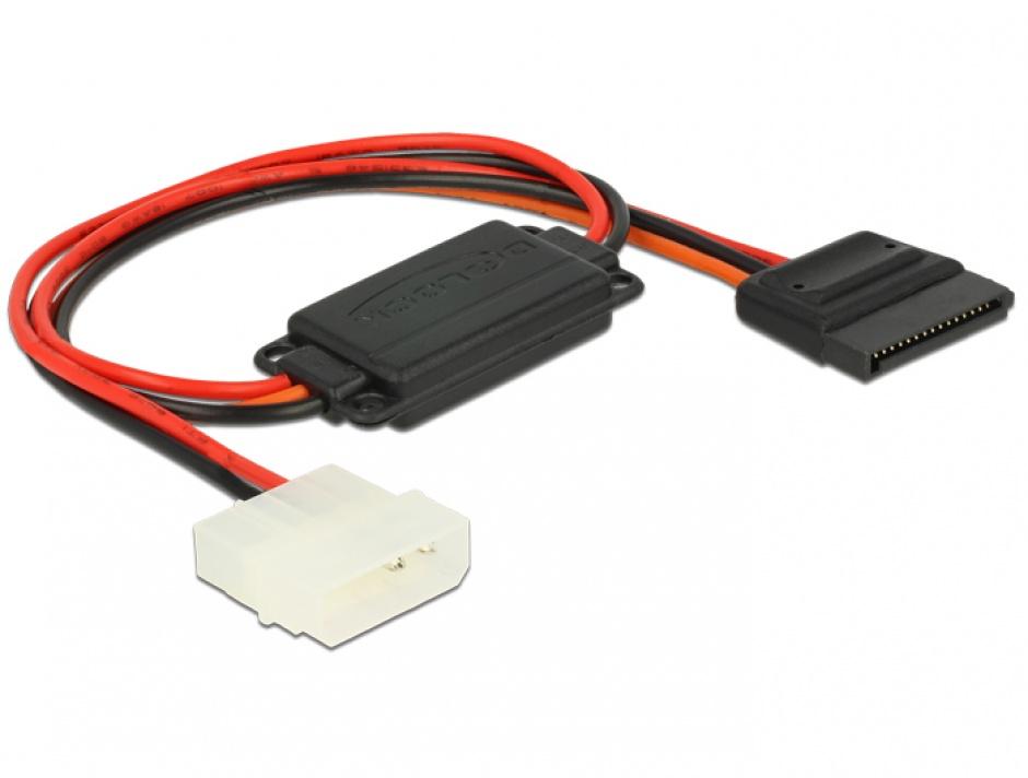 Imagine Cablu de alimentare conversie voltaj Molex 4 pini 5V la SATA 15 pini 3.3V + 5V T-M, Delock 62838 -1