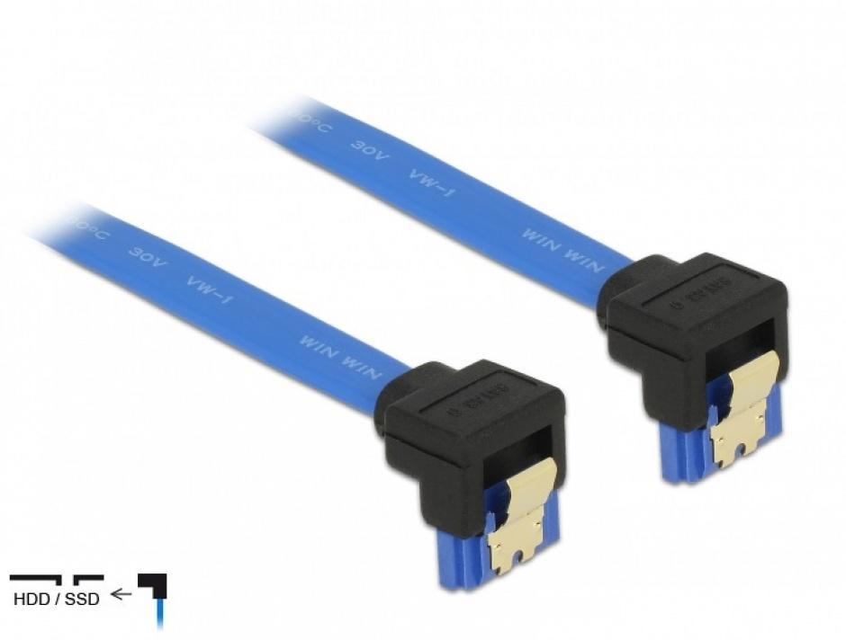 Imagine Cablu SATA III 6 Gb/s unghi jos/jos Bleu 10cm, Delock 85094