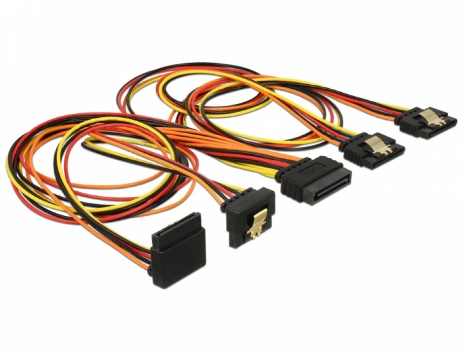 Imagine Cablu de alimentare SATA 15 pini la 2 x SATA drepte + 1 x unghi sus + 1 x unghi jos 50cm, Delock 601