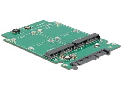 """Imagine Convertor SATA 22 Pini 2.5"""" la 2 x mSATA cu RAID, Delock 62594-1"""