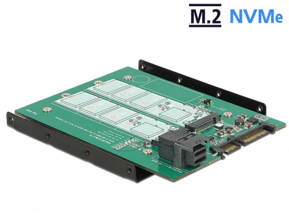 "Imagine Adaptor SATA 22 pini / SFF-8643 NVMe la 1 x M.2 NGFF Key M + 1 x M.2 NGFF Key B + kit 3.5"", Delock 62704"