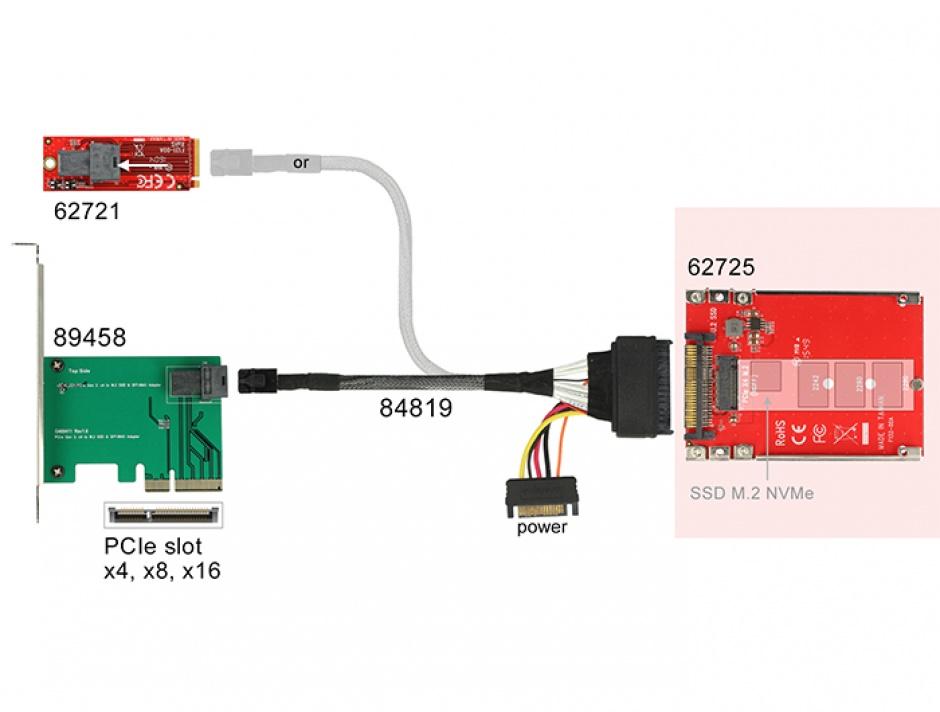 "Imagine Convertor 2.5"" U.2 SFF-8639 la M.2 NVMe Key M 7 mm, Delock 62725-3"