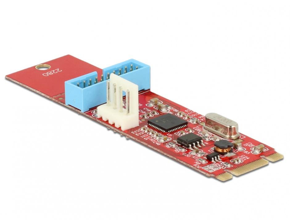 Imagine Convertor M.2 Key B+M la 1 x Pin Header USB 3.0, Delock 62842-1