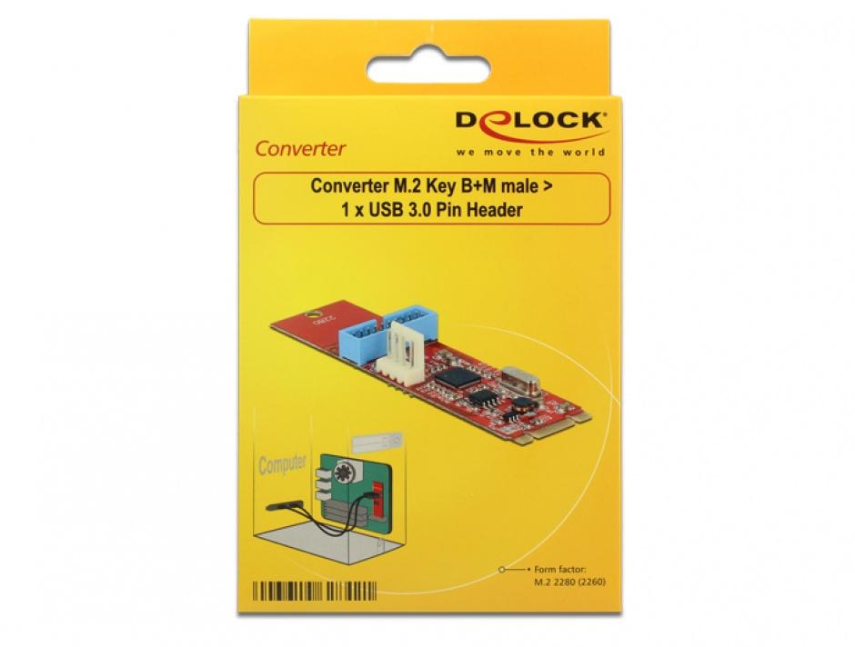 Imagine Convertor M.2 Key B+M la 1 x Pin Header USB 3.0, Delock 62842-5