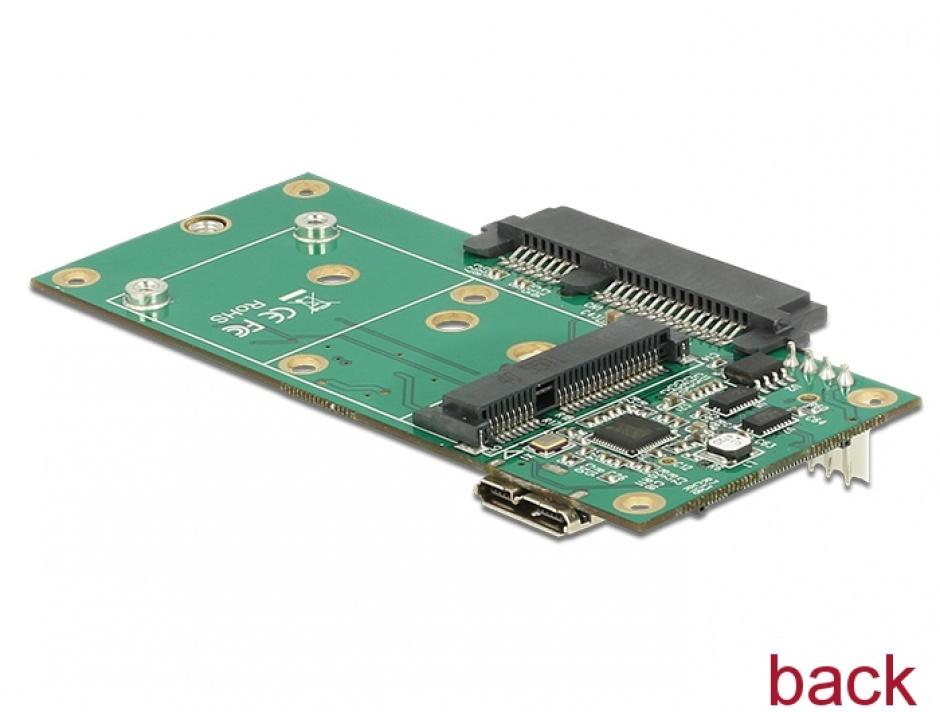 Imagine Convertor micro-B USB 3.1 la 1 x SATA / 1 x M.2 Key B / 1 x mSATA, Delock 62867-2