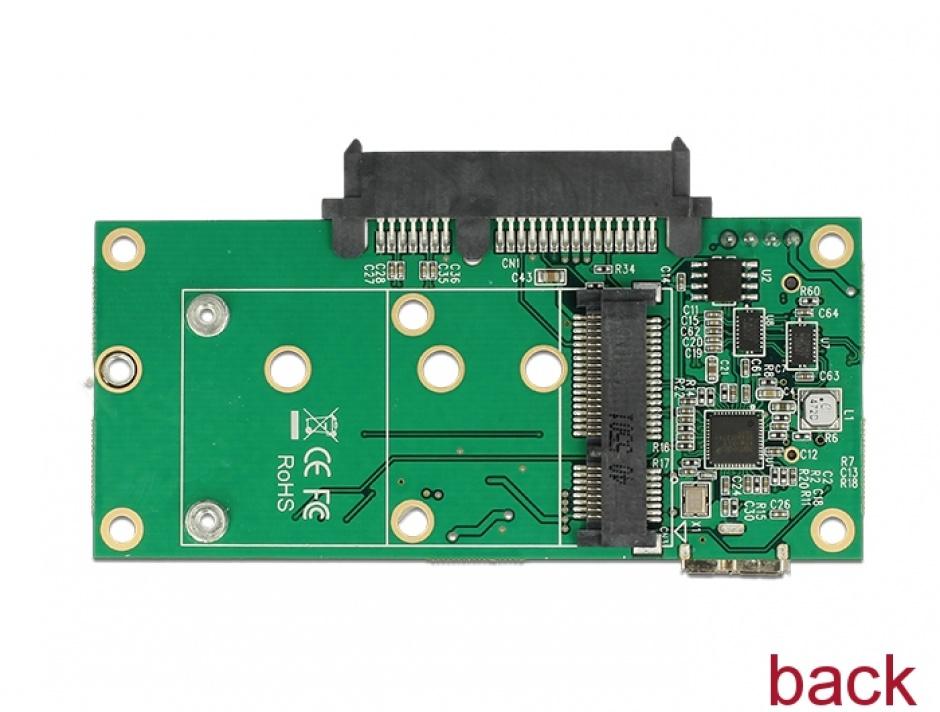 Imagine Convertor micro-B USB 3.1 la 1 x SATA / 1 x M.2 Key B / 1 x mSATA, Delock 62867-4
