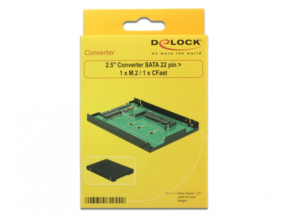 "Imagine Rack extern 2.5"" SATA 22 pini la 1 x M.2 key B/ 1 x CFast 9.5mm, Delock 62944"