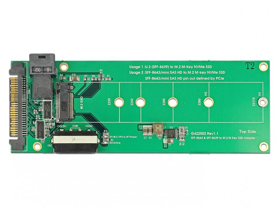 Imagine Convertor U.2 SFF-8639 / SFF-8643 NVMe la 1 x M.2 Key M, Delock 62945-1