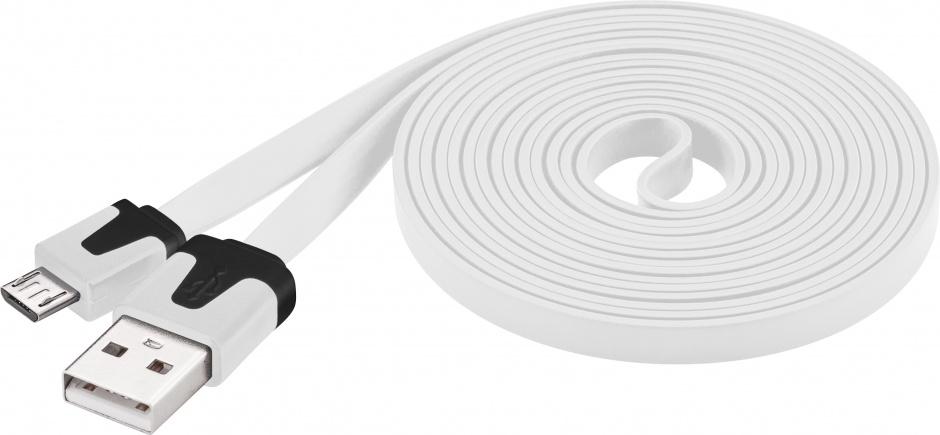Imagine Cablu date si incarcare USB la micro USB-B Flat Alb 2m, Goobay W67559