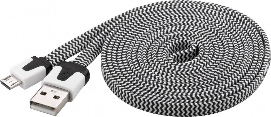 Imagine Cablu date si incarcare USB la micro USB-B Flat Alb/Negru 2m, Goobay W68794