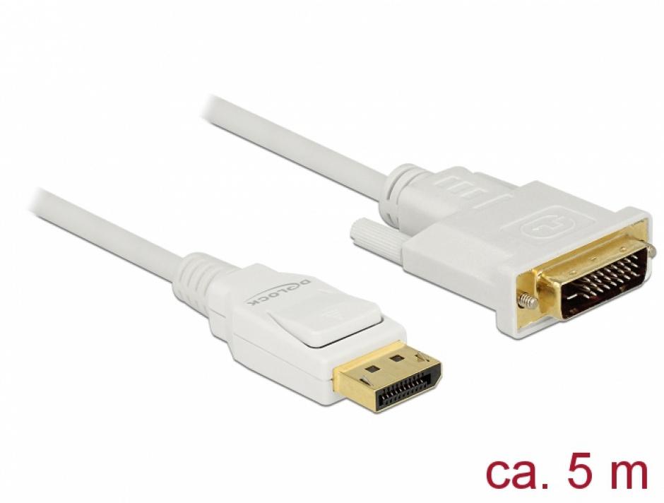 Imagine Cablu Displayport 1.2 la DVI 24+1 pini T-T pasiv alb 5m, Delock 83816