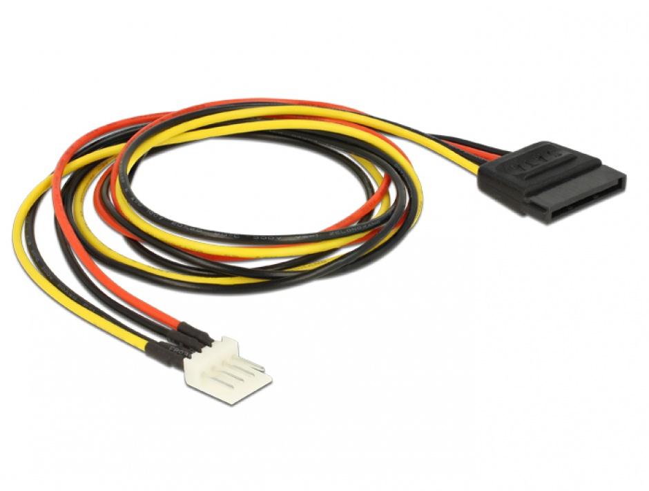 Imagine Cablu de alimentare SATA 15 pini la Floppy 4 pini 60cm M-T, Delock 83879 -1