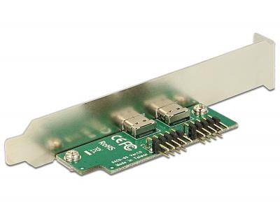 Imagine Bracket pin header USB 2.0 la 2 x USB tip C Low Profile, Delock 84754-2