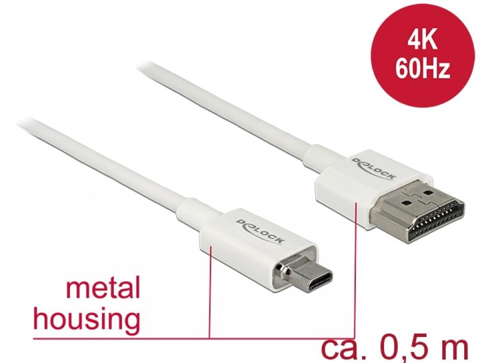 Imagine Cablu HDMI la micro HDMI-D T-T 3D 4K 0.5m Slim Premium Alb, Delock 85148-1