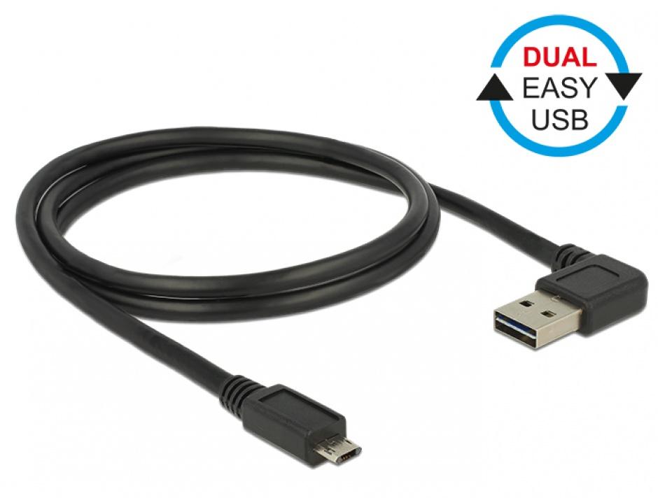 Imagine Cablu EASY-USB 2.0 tip A unghi stanga/dreapta la micro USB-B EASY-USB T-T 2m Negru, Delock 85165-1