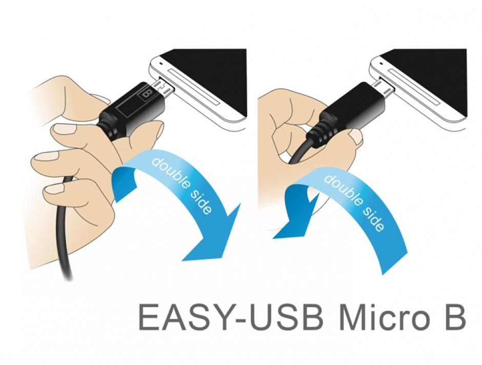 Imagine Cablu EASY-USB 2.0 tip A unghi stanga/dreapta la micro USB-B EASY-USB T-T 3m Negru, Delock 85168