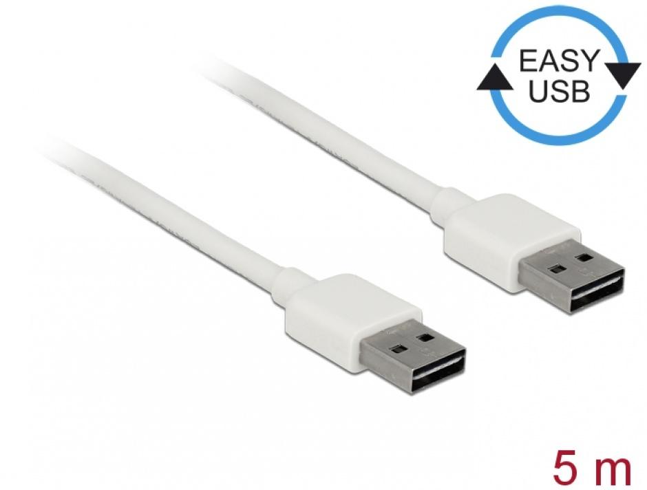 Imagine Cablu EASY-USB 2.0 tip A T-T 5m Alb, Delock 85196