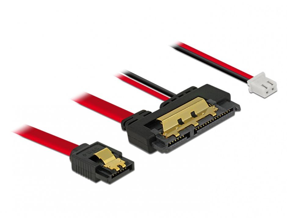 Imagine Cablu de date + alimentare SATA 22 pini 5V 6 Gb/s cu clips la Alimentare 2 pini + SATA 7 pini 30cm, Delock 85242