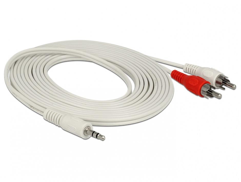 Imagine Cablu audio jack stereo 3.5mm la 2 x RCA T-T 3m Alb, Delock 85309-1
