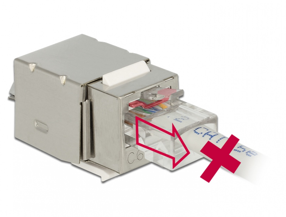 Imagine Modul Keystone RJ45 Securizat ecranat Cat.6 > LSA, Delock 86404